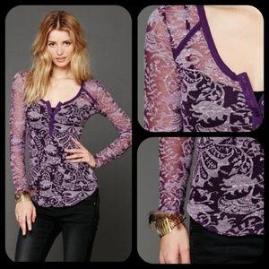 Free People Intimately damask burnout henley XS